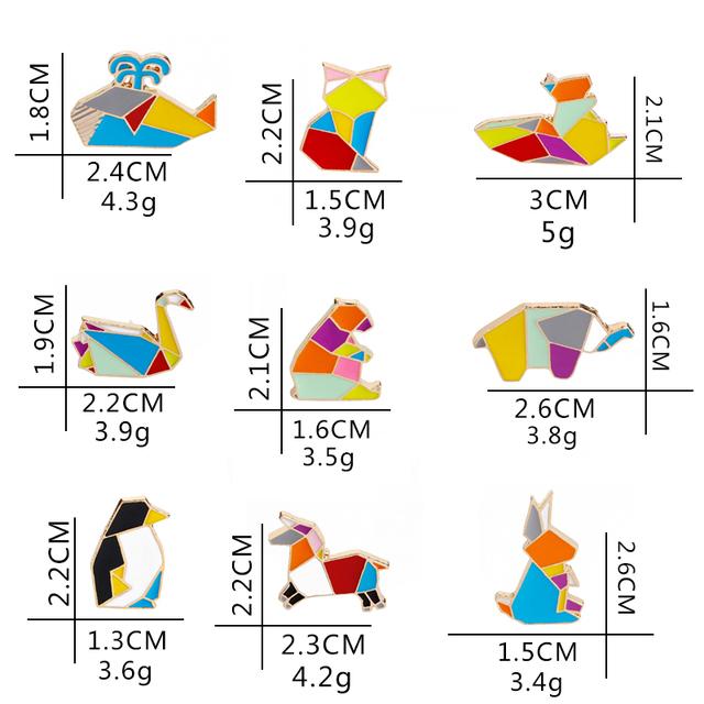Милые жесткие эмалированные булавки в виде животных оригами