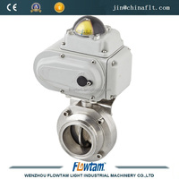 stainless steel welded,clamp,threaded electric actuator drive butterfly valve
