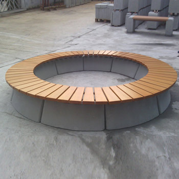 Top sale cheap backless recycled round plastic wooden park bench