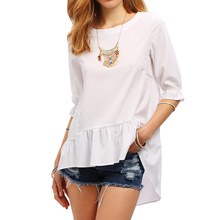 Clothing Women Tiered Layer White Half Sleeve High Low Ruffle Blouse Bangkok