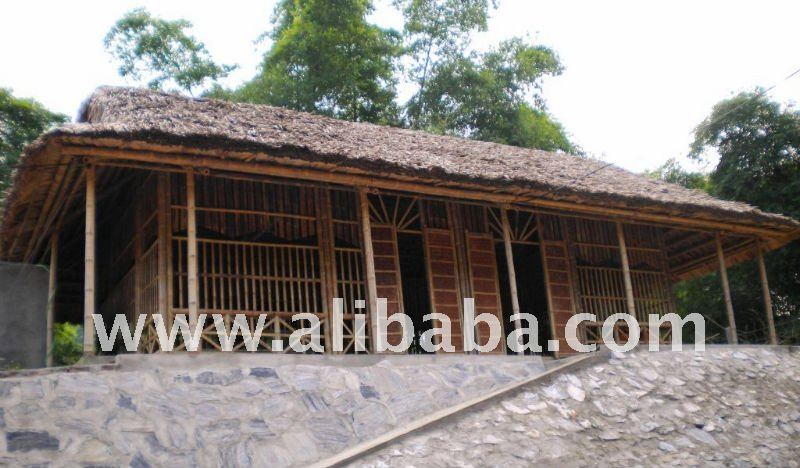 Bamboo buldings with palm leaf thatched roof.