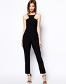 summer spring new style chiffon jumpsuit black blank printing fashion jumpsuit
