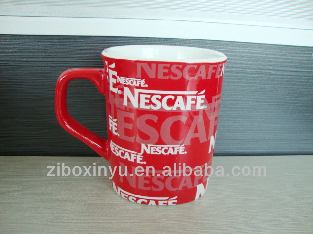 9oz Nestle Coffee ceramic promotion mugs FOR ZIBO XINYU PROMOTION