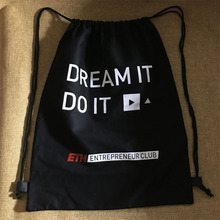 Custom Black Cotton Backpack Drawstring Bag for Shopping
