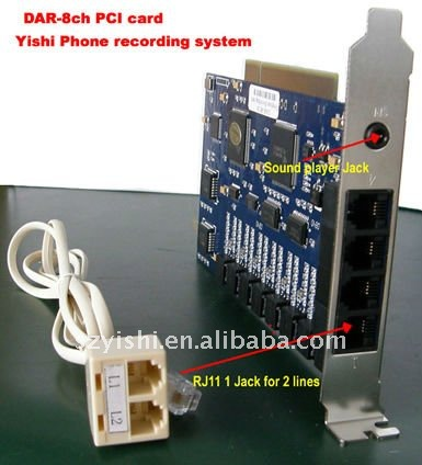 8CH Analog Phone Call Recorder Card DAR-8CH 8 Lines DSP PCI Telephone Voice Recorder
