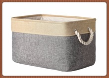 Wholesale Foldable Linen Fabric Storage Cube Bin Basket with handles