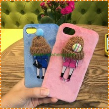 Lady use beautiful winter knitted hats plush back phone case for iphone 7 7plus