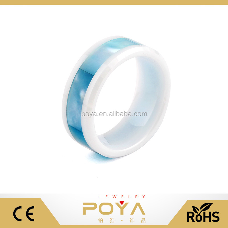 POYA Jewelry 8mm Europe and America Popular Mens Boys Fashion Ceramic Blue Shell Inlay Wedding Band Ring