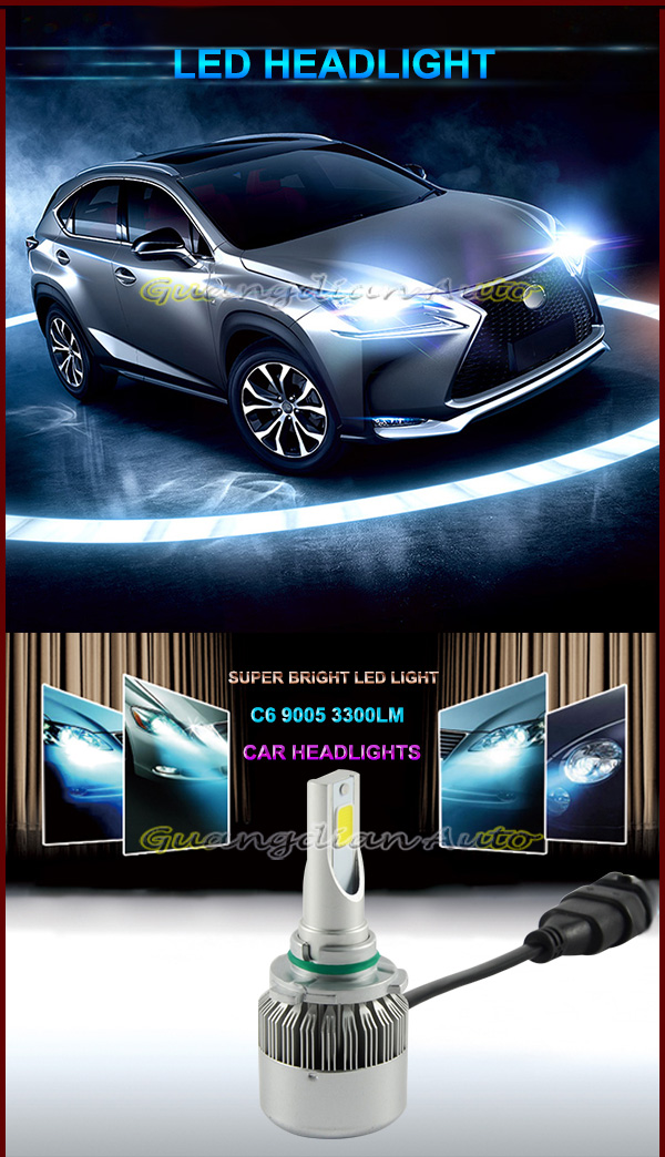 Guangdian Automobiles 3300lm c6 led headlight 9005 Plug and Play headlight hb3 New unique design waterproof Conversion kit