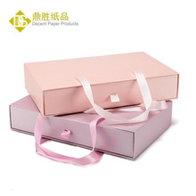 Custom Order Drawer Type Ribbon Handle Cardboard Paper Fashion Pink Gift Boxes