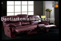 Home Theater Reclining Sofa with Genuine Leather Materials