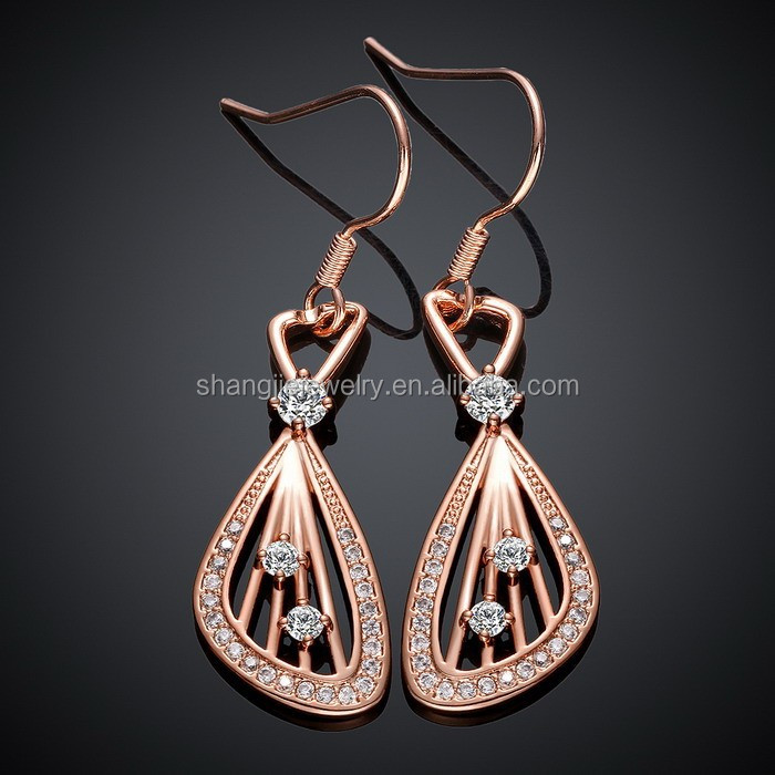 SJ Trendy Design E001-B Rose Gold Plated White Cubic Zircon <strong>Water</strong> Drop Dangle Earring Fashion Women Eco-Friendly Copper Jewelry