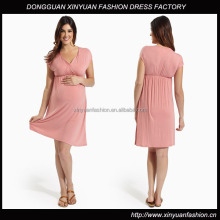 Draped Deep V-Neck Flattering Maternity Nursing Dress XYD2804