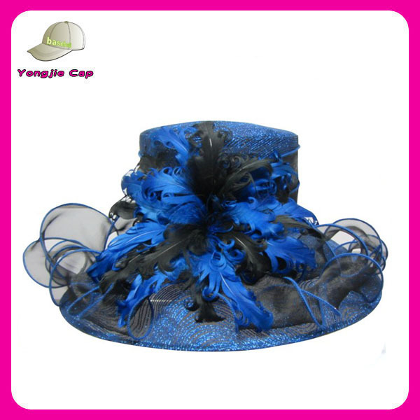 wholesale Fuchsia Organza women church hats sinamay wedding hats with feather decoration