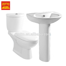 Brand porcelain sets chaozhou ceramic bathroom accessory set with toilet and pedestal basin