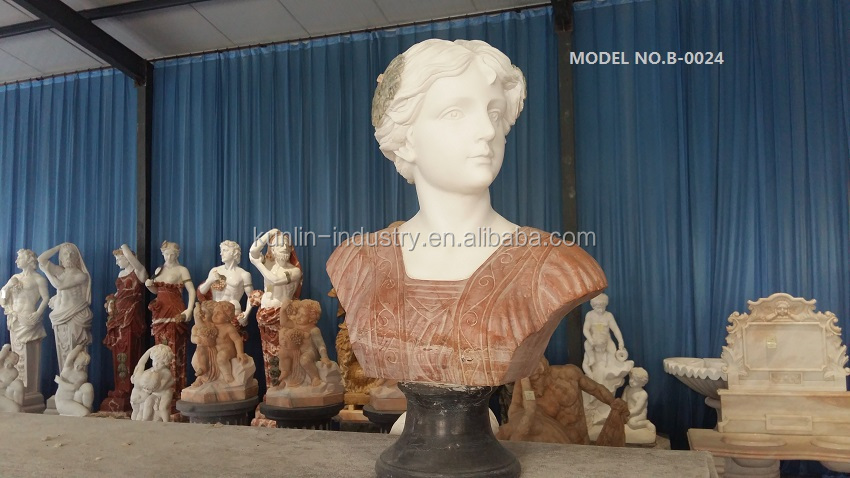 Natural carved custom marble female bust