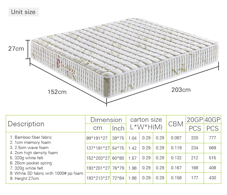 Home furniture bamboo memory foam mattress in box A-1056-01