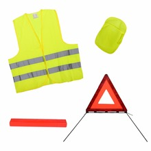 Emergency road safety kit Emark EN471 with warning triangle and reflective safety vest