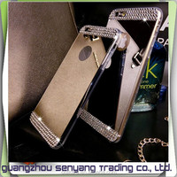 High Quality Rhinestone Mobile Cover for iphone 6 TPU Mirror Case for iphone 6s