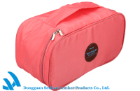 Portable pink bra organizer bag for travel use, underwear packaging bag