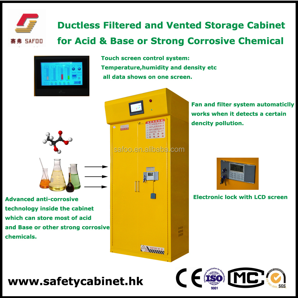 Metal yellow safety cabinets with filtration and ventilation for odorous flammable toxic chemicals sodium