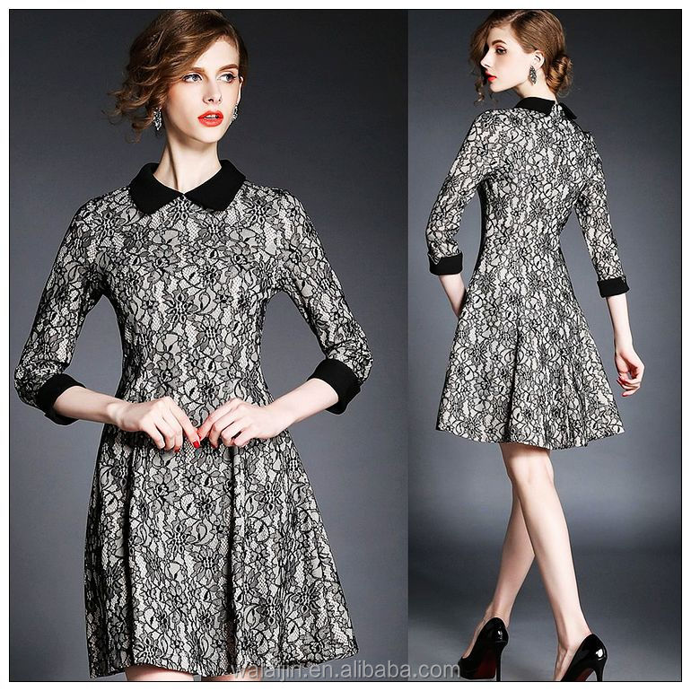 High quality black collar lace dress tee length long sleeve dress OEM