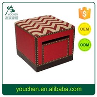Red and Vintage Wooden Ottomans with Drawer, Decorative Wooden Storage Ottomans, Wooden Stool For Home Decors