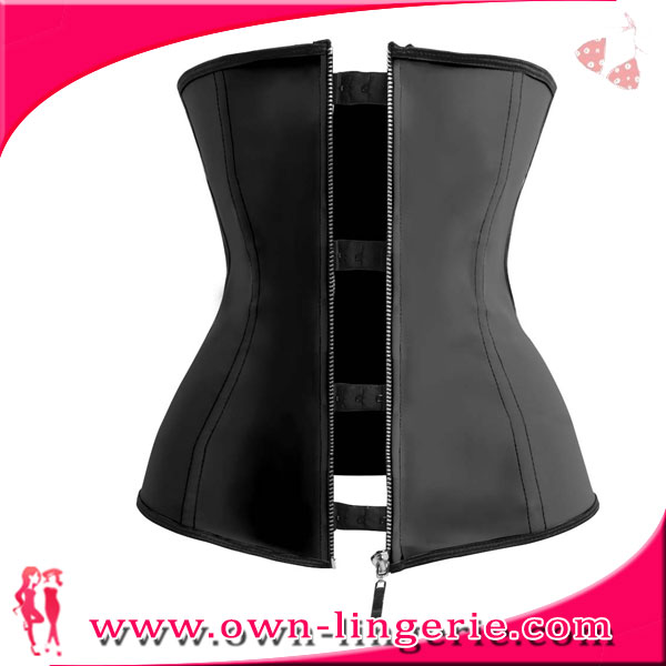 zipper waist cincher in stock item lingerie black latex zipper waist training corsets wholesale zipper waist trainer