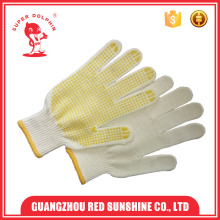 Cheap White Cotton Dotted Gloves With Rubber Grip Dots