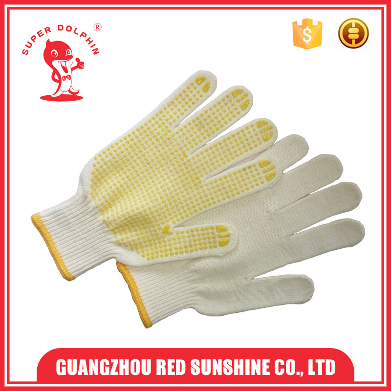 Cheap White Cotton Work Gloves With Rubber Grip Dots