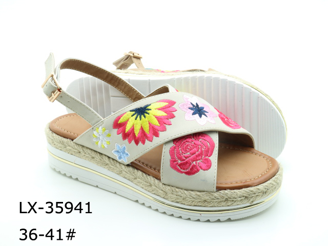 Embroidered floral straw bottom casual sandals for women