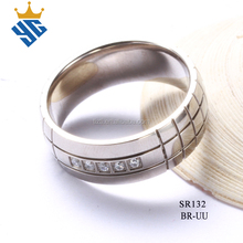 China factory wholesale surgical steel wedding rings with 5pcs stones gents diamond ring design custom made stainless steel ring