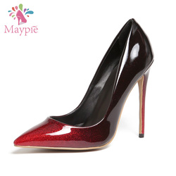 New Design Italian Latest High Heel Ladies Party Wear Slip-on Gradient Color Dress Shoes for Women