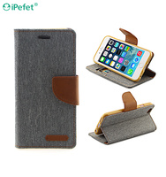 Mobile phone cover case for iPhone 6, cowboy cloth PU leather phone case for iPhone 6