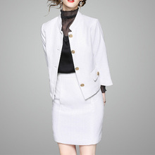 High Quality Fashion Elegant Europe Style Autumn Winter Women White Business Suits