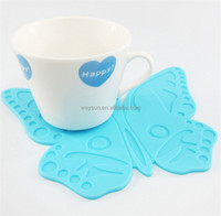 Cute Silicone Carton Butterfly Placemat Cup Mat Coaster Place Mat Table Decor Flexible Table Heat Resistant Drinks Mats
