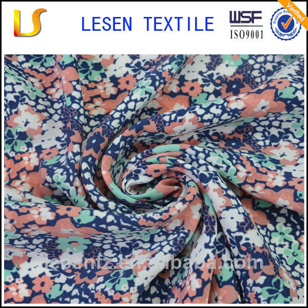 Lesen Textile flower design printed silk chiffon fabric