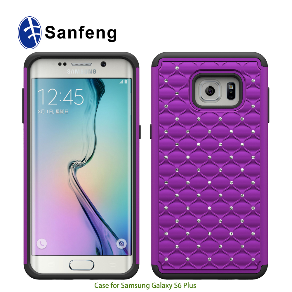 Wholesale price luxury diamond hibrid cell phone case for Samsung S6 edge plus phone cover from factory