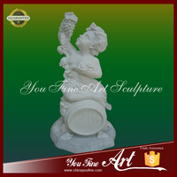 Stone Carved White Marble Boy Sculpture With Grapes