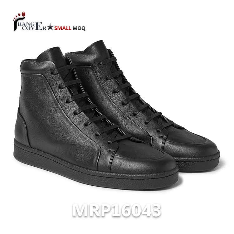 2017 Full Grain Leather USA Hot Sale Wholesale Men Black Sneakers