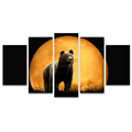 5 Panels HD Full Moon Scenery Black Bear Photo Canvas Painting Animal Wall Picture for Living Room Ready to Hang on Wall
