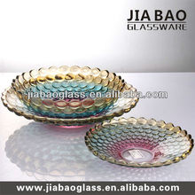 Colorful beads glass fruit bowl and glass plate sets and tableware