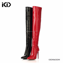 Sexy lady latex stiletto heel pull on thigh high heel shoes women boots
