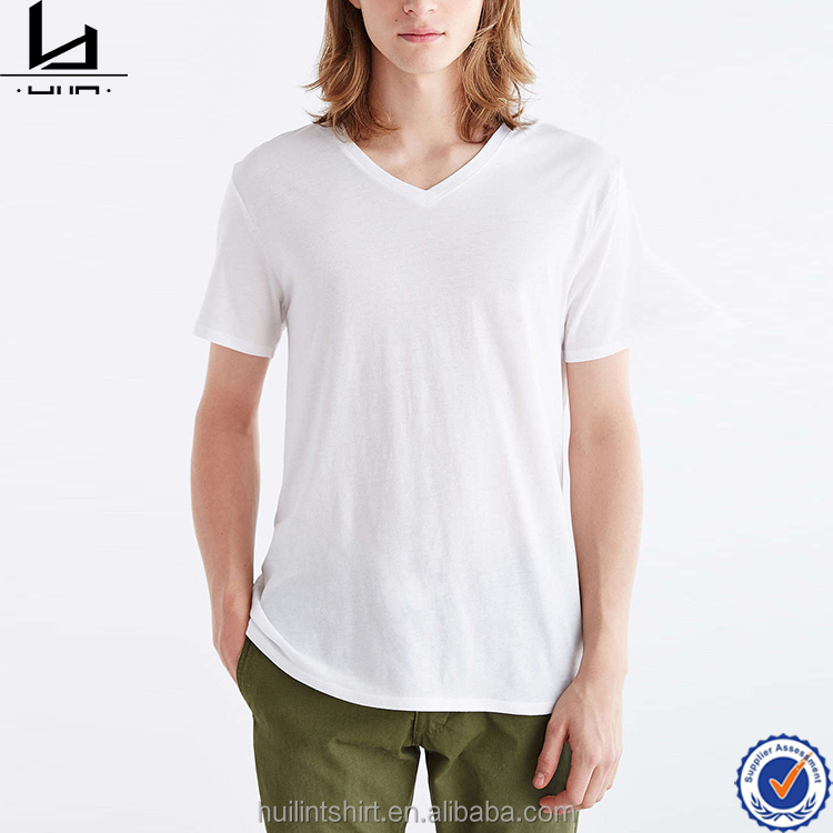 Blank t-shirt china wholesale customized fitness wear soft touch fabric v-neck men t shirt
