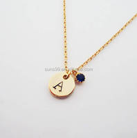 Factory Wholesale Personalized Initial Necklace, Disc Pendant With Tiny Blue Cz Pendant Necklace