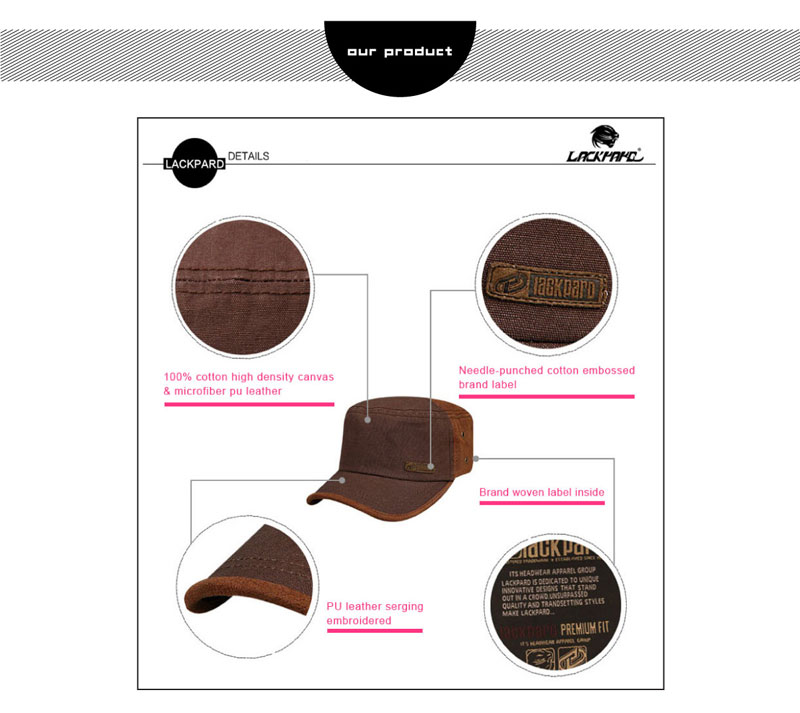 Unisex brown military style outdoor trucker baseball hats lovers cap