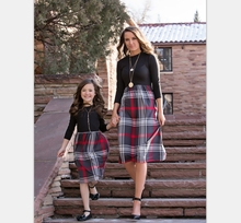 2019 NEW Three Quarter Sleeve Black Plaid Mom Daughter Dress Family Matching Outfit (this link for girls,1-12years)