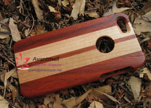 Red Wood and Maple Wood Mobile Phone Case For Iphone5 with Apple Logo Hole