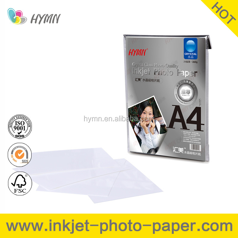 High Quality Crystal Glossy Inkjet Photo Paper A4 4R
