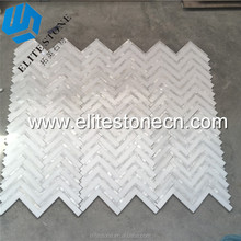 New Design Mother of Pearl Shell White Marble Herringbone Mosaic Tile